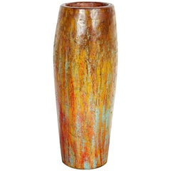 Tall, Colorful Teak Drum Vase from Java