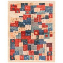 21st Century All-Over Geometric Multicolored Persian Gabbeh Carpet