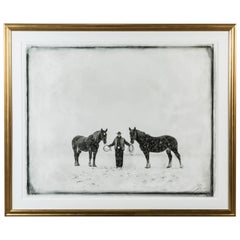 Cowboy and Two Horses Montana, 1999 by Richard Phibbs