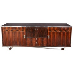 Original French Modern Macassar Ebony Credenza with Nickeled Bronze Mounts