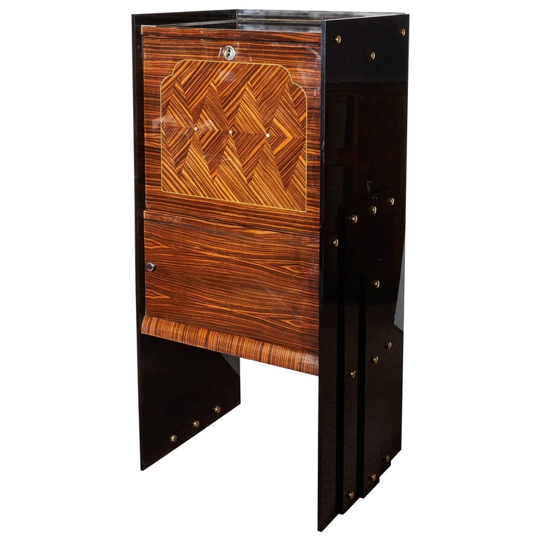 French Modernist Macassar Ebony, Plexi, Mother-of-Pearl Secretaire or Cabinet
