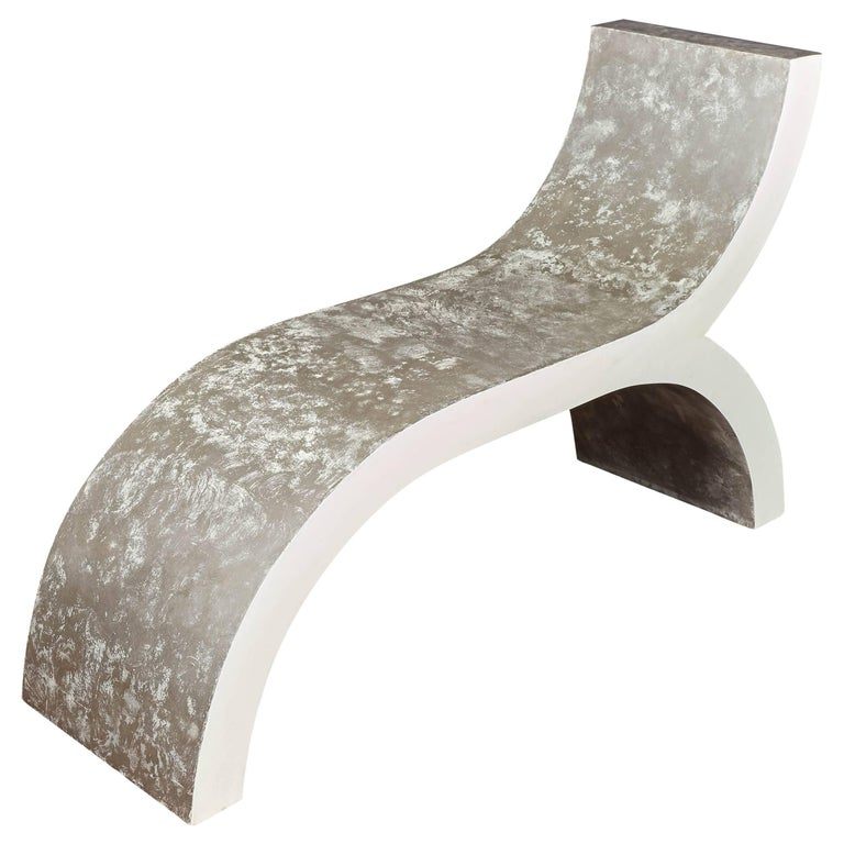 Mid century Modern white lacquered bench, sculptural seat, chaise longue,