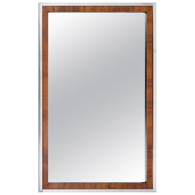 One or Two John Stuart Midcentury Rosewood and Chrome Mirrors