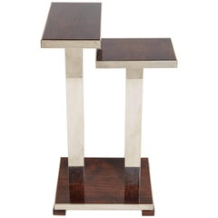 French Art Deco Wood & Nickeled Bronze Stepped Table Attributed to Andre Ducaroy