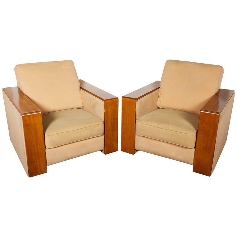 Awe Inspiring Pair Of Large French Mid Century Modern Wide Arm Cubist Club Chairs Gamerscity Chair Design For Home Gamerscityorg