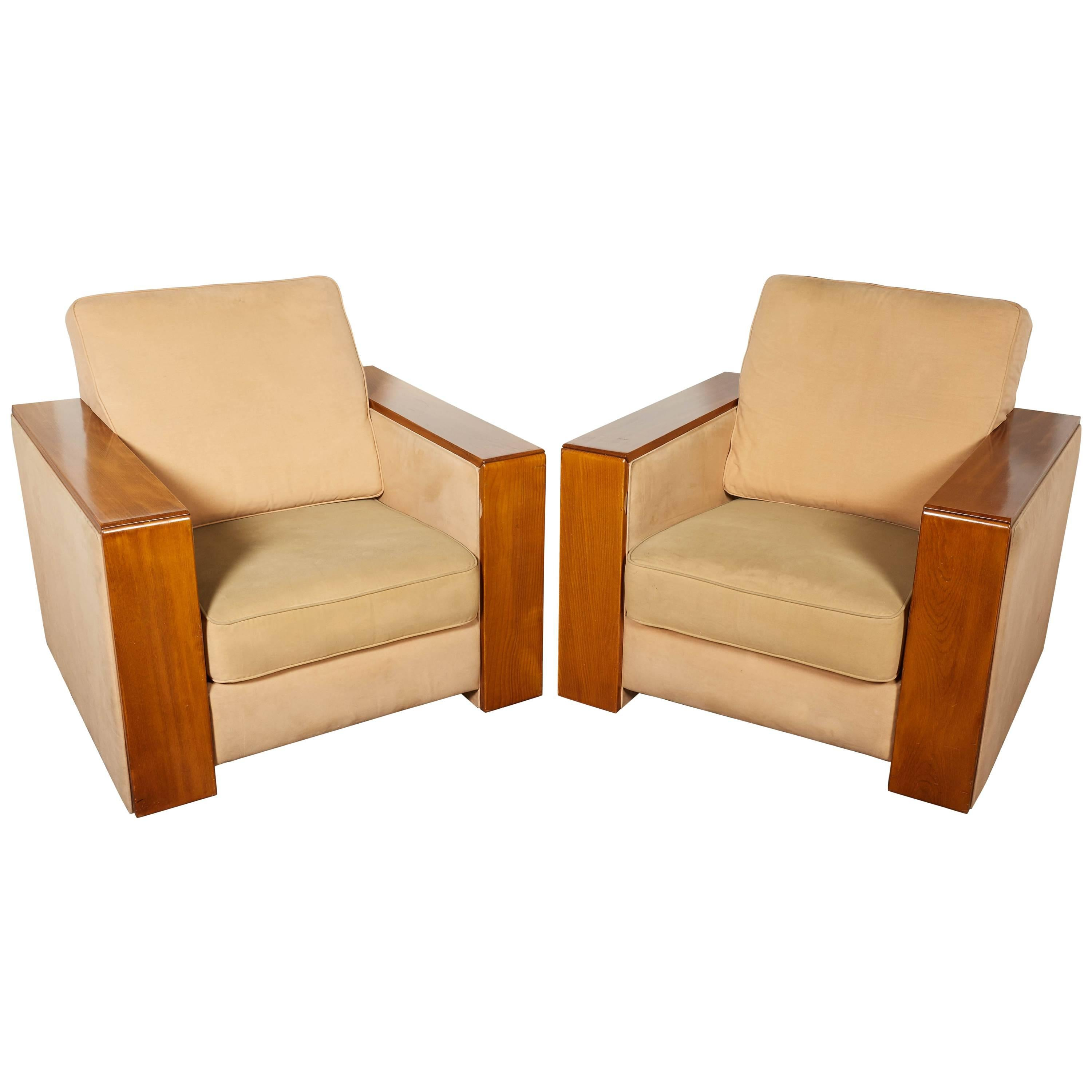 Pair Of Large French Mid Century Modern Wide Arm Cubist Club Chairs For Sale