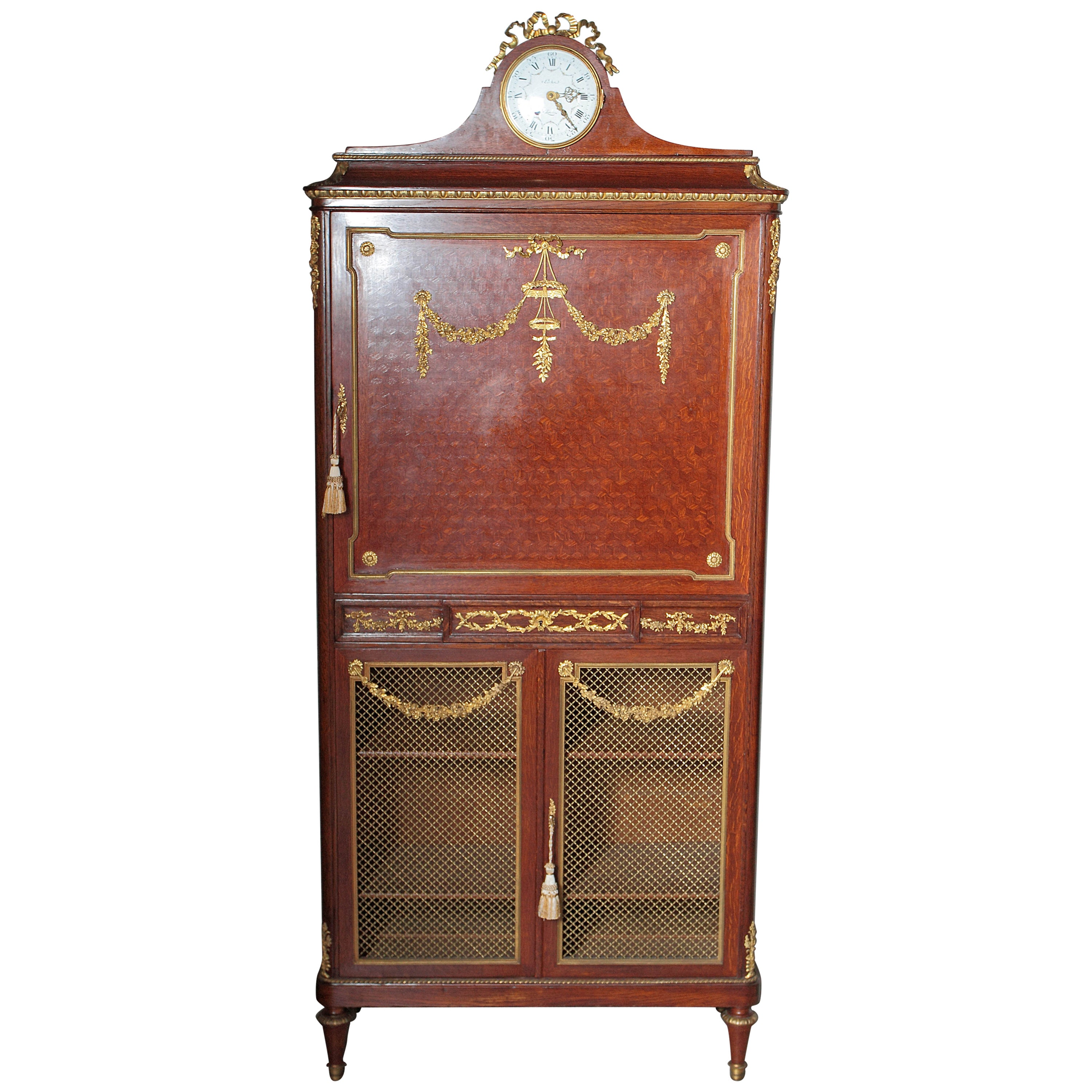 19th Century Parquetry and Gilt Bronze Cabinet by Francois Linke