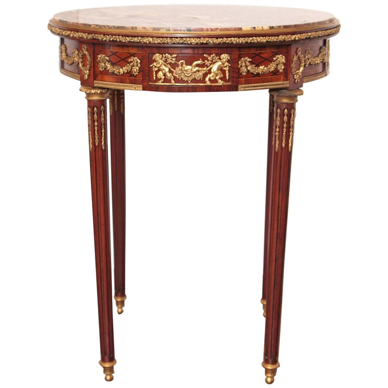 19th Century French Mahogany and Gilt Bronze Marble Top Gueridon Table