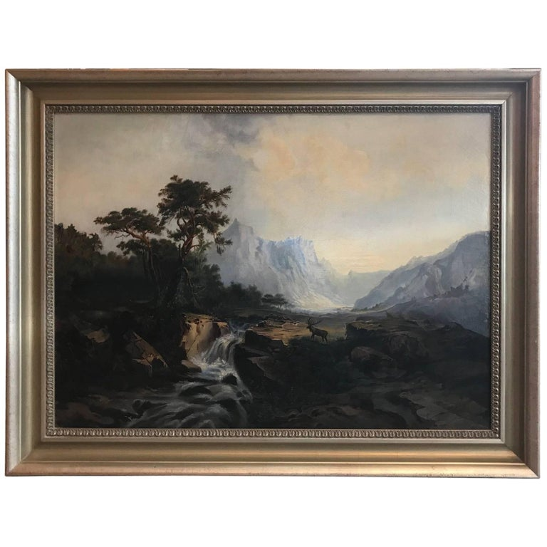 Antique 19th Cent. European Oil Painting on Canvas Signed M. L. Tunner, 1872 For Sale