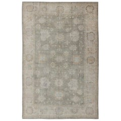 Oushak Vintage Rug from Turkey with Large-Scale All-Over Blossom Design