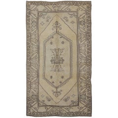 Vintage Cream and Charcoal Turkish Oushak Rug with Stylized Medallion Design