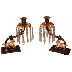 19th Century bronze and ormolu lustre candlesticks with dogs