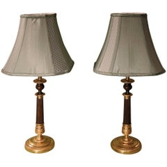 Pair of Early 19th Century Bronze and Ormolu Candlestick Lamps