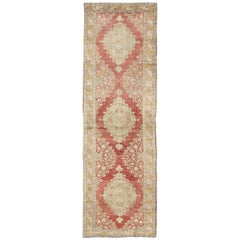 Antique Turkish Oushak Runner with Red Background and Ivory/Cream Medallions
