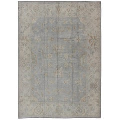 Faded Turkish Oushak Rug with All-Over Vining Floral Design in Grey and Cream