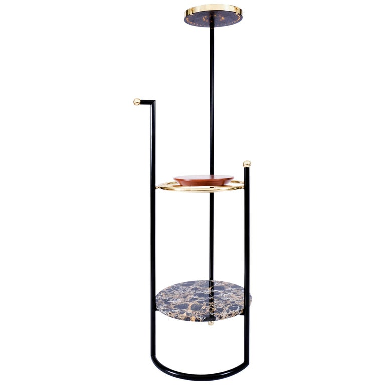 Saturne, Valet Lamp, Brass, Iron, Cedar and Portoro Gold Marble Fabrication