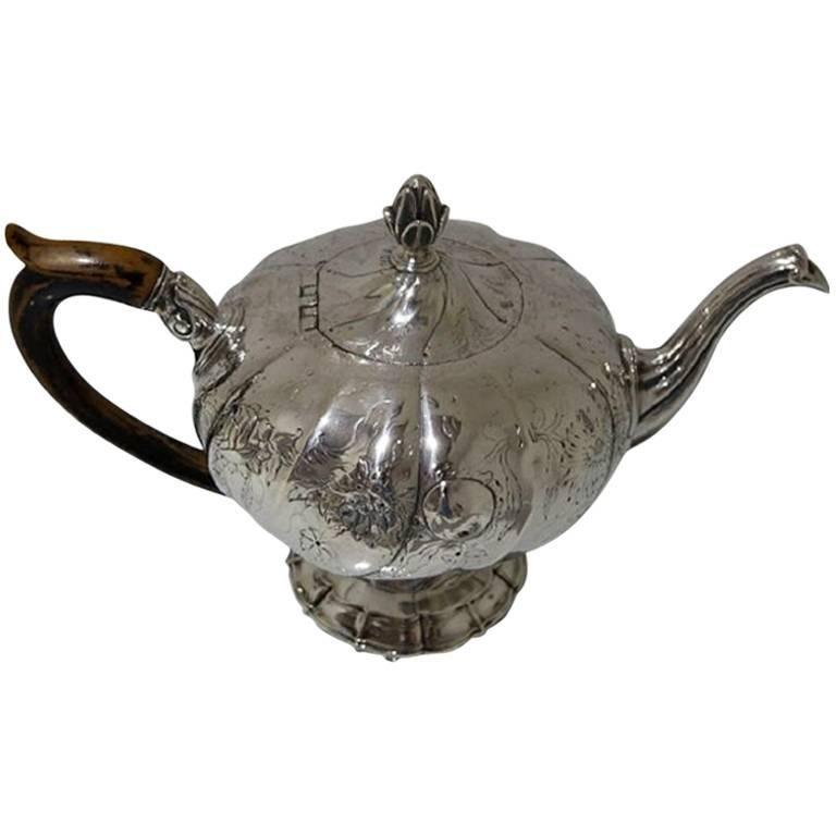 18th Century Antique Silver Portuguese Teapot, circa 1770