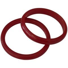 Set of Two Cherry Red Bakelite Bangles Bracelets