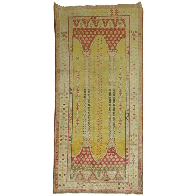 Antique Turkish Yellow Prayer Rug