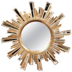 Mid-20th Century French Giltwood Sunbust Mirror with Glass Beams