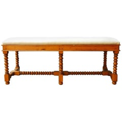French Country Style Pine Turned Leg Bench
