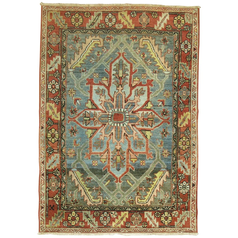 Persian Heriz Rug with Gray Field