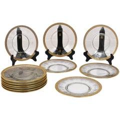 Set of Ten Louis XVI-Style Gilded Crystal Dinner Plates