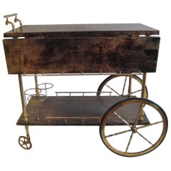 Aldo Tura Bar Cart with Dramatic Grain
