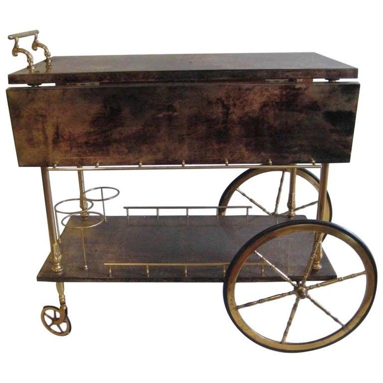 Aldo Tura Bar Cart with Dramatic Grain