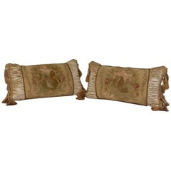 Pair of Aubusson Tapestry Throw Pillows