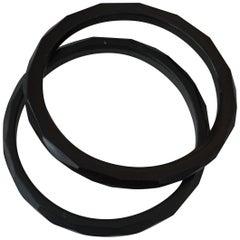 Set of Two Black Facetted Bakelite Bangles Bracelets