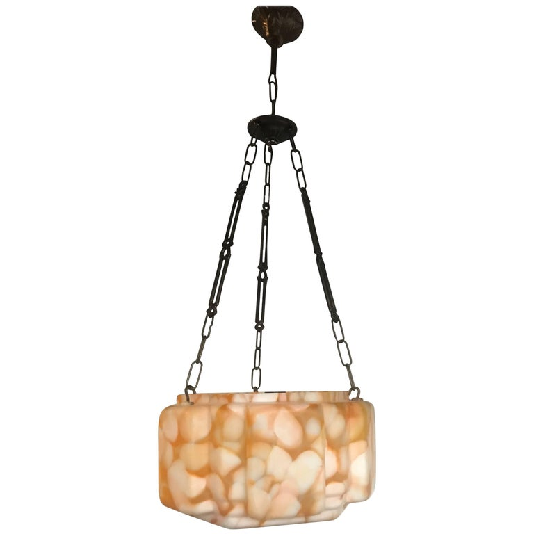 Good Size Cubical Shape, Art Deco Marbled Glass Pendant Light Fixture
