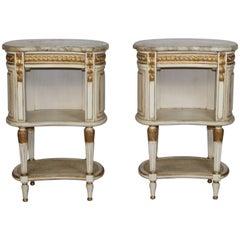 Pair of Marble Top Nightstands