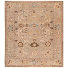 Square 21st Century Ivory Sultanabad Area Rug