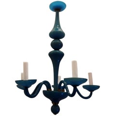 Wonderful French Blue Opaline Glass Brass Chandelier Five-Light Fixture