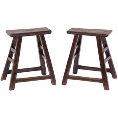 Pair of Chinese Tapered Stools