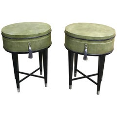 Pair of Oval Shagreen Side Tables, Attributed to R & Y Augousti