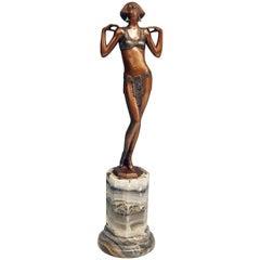 Vienna Bronze Art Deco Lady Nude by Josef Lorenzl Marble Base, circa 1925-1930
