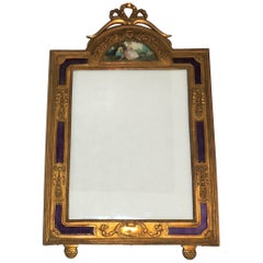 Wonderful French Ormolu Purple Enamel Gilt Bronze Bow Picture Frame Miniature