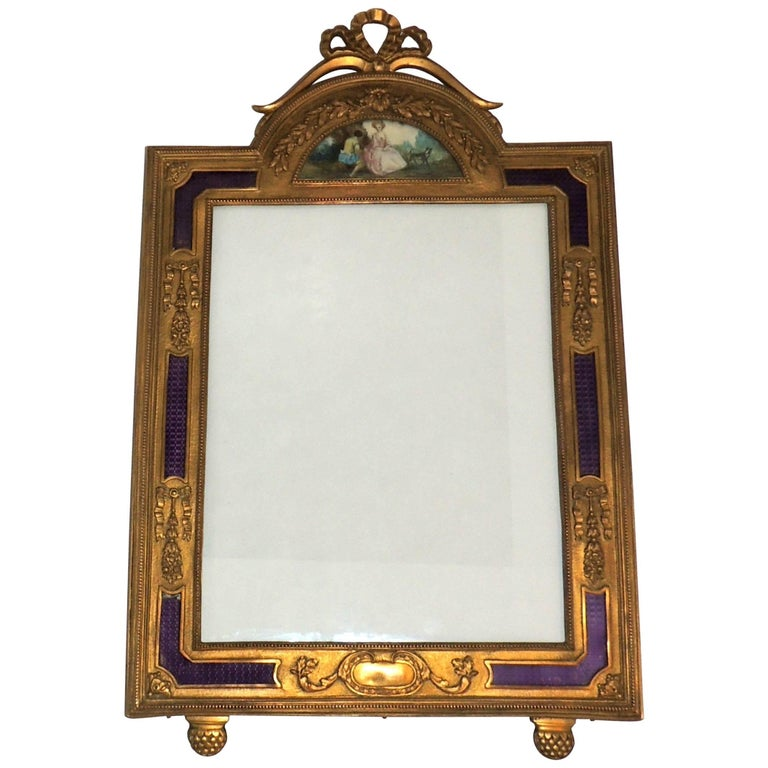 Wonderful French Ormolu Purple Enamel Gilt Bronze Bow Picture Frame Miniature For Sale