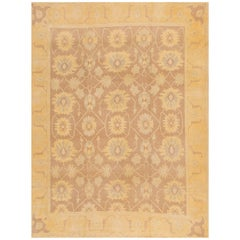 21st Century Taupe and Floral Oushak Rug