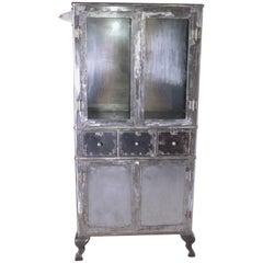 Industrial Modern 1920s Steel Metal Medical Cabinet