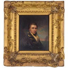 Portrait of an English Naval Officer in Front of This Ship Regency Period 1810s