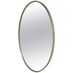 Minimalist Oval Brass Mirror
