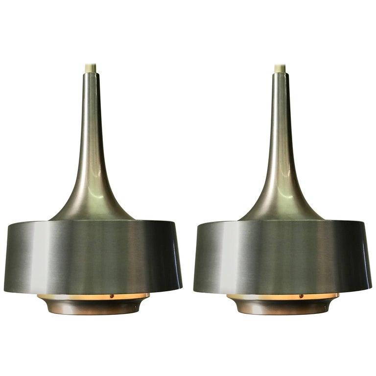 Pair of Midcentury Nova Aluminum Pendant by Jo Hammerborg for Fog & Mørup