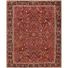 Antique Rust and Blue Heriz Carpet
