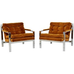 Mid-Century Modern Cy Mann Pair of Chrome Flat Bar Lounge Chairs Baughman Era