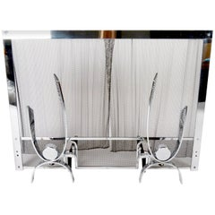 1960s Three-Piece Andirons and Fire Screen Set