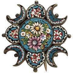 Victorian Italian Murano Micro Mosaic Brooch