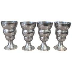 Chrome Art Deco Cordial Shot Glass Set of Four